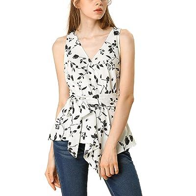 Allegra K Women's Striped Sleeveless V Neck Tie Waist Asymmetric Hem Wrap Peplum Top at Women's Clothing store