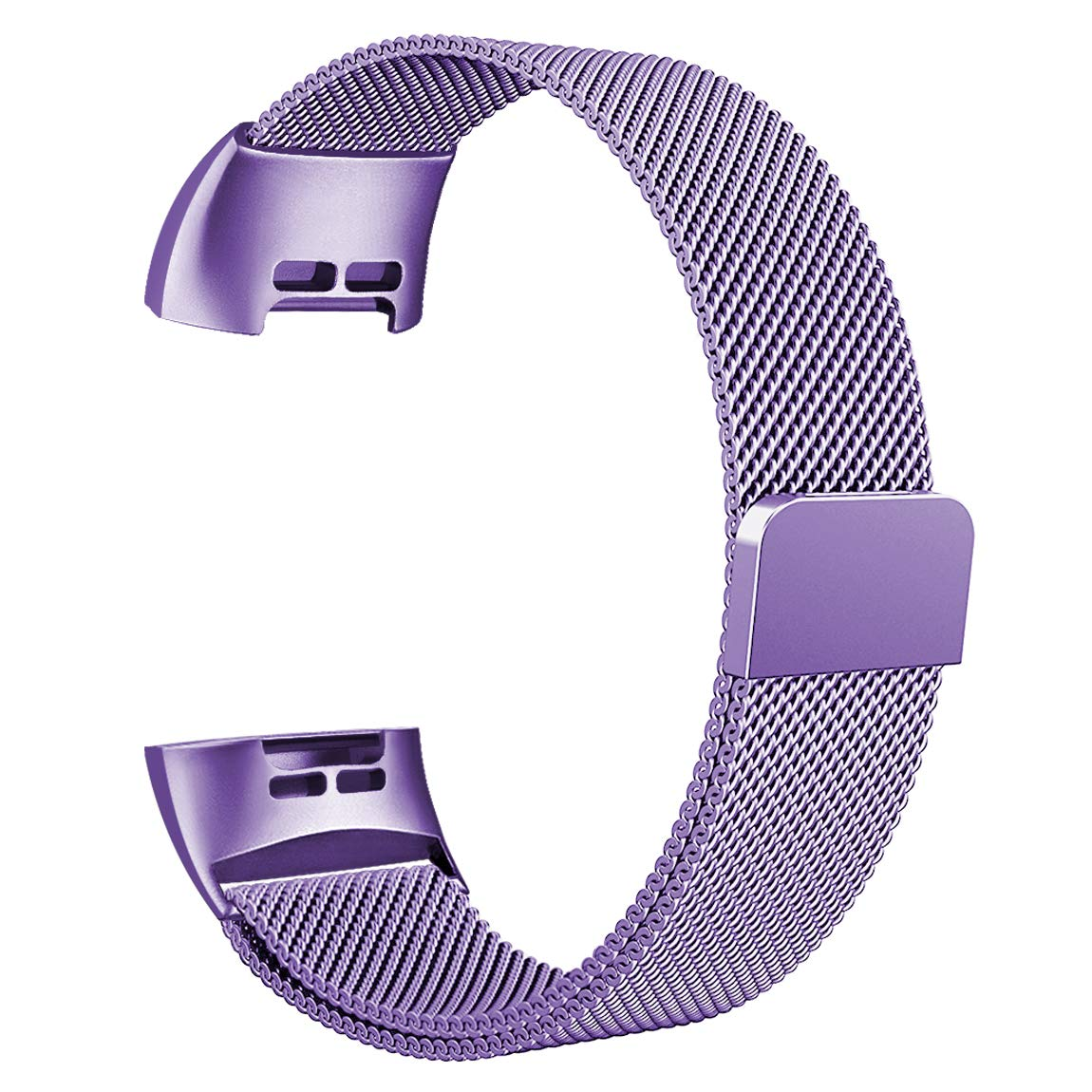 Maledan Metal Bands Compatible with Fitbit Charge 3 Charge 3 SE Stainless Steel Mesh Milanese Loop Magnetic Band Replacement Accessories Bracelet Strap with Unique Magnet Lock Lavender Small