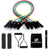 UPOWEX Resistance Bands Set - Include 5 Stackable Exercise Bands with Carry Bag, Door Anchor Attachment, Legs Ankle Straps & Bonus eBook - 100% Life Time Guarantee