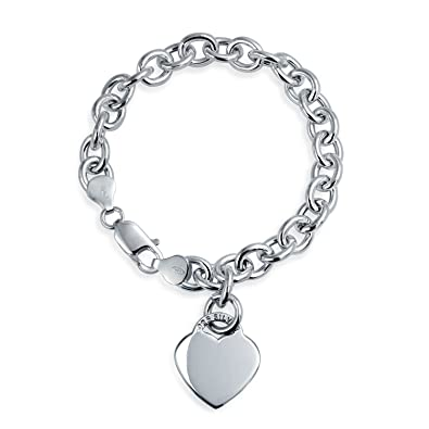 c8c9e98cf Solid Heart Shape Charm Tag Chain Bracelet For Women For Teens Engravable 925  Sterling Silver Heavy