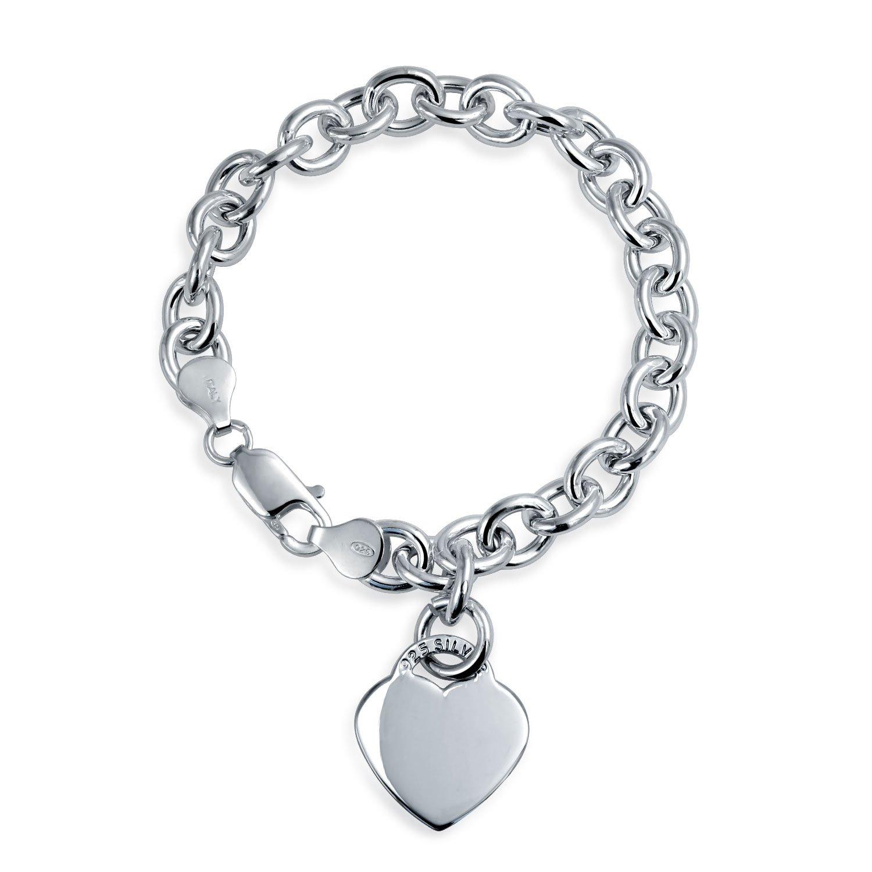Heart Tag Charm Bracelet 925 Sterling Silver