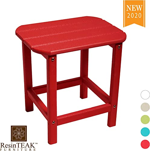 ResinTEAK Outdoor Side Table, Red Weather Resistant, Patio Side Table for Small Spaces Outside Made from Special Formulated HDPE Poly Lumber Plastic