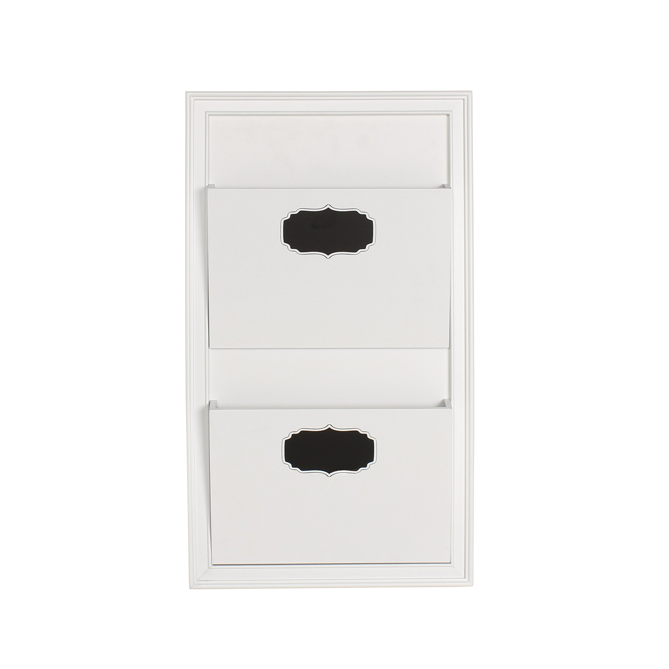 DesignOvation Walcott Decorative Wall Organizer Mail Holder with Two Pockets, White