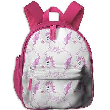 Bonita y elegante mochila escolar con bolsillo para niñas coloridos patrones correr caballo