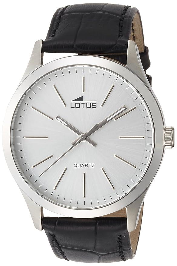 Reloj Lotus con correa de cuerro marrón