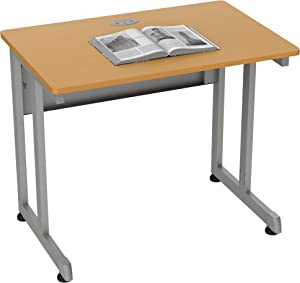 Linea Italia, Training or Seminar Small Easy to Assemble Metal Computer Desk with Wood Top   Laptop Table for Home or Office, 36