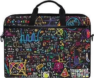 MRMIAN Colorful Math Formula 15 inch Laptop Case Shoulder Bag Crossbody Briefcase Messenger Sleeve for Women Men Girls Boys with Shoulder Strap Handle, Back to School Gifts for Her Him