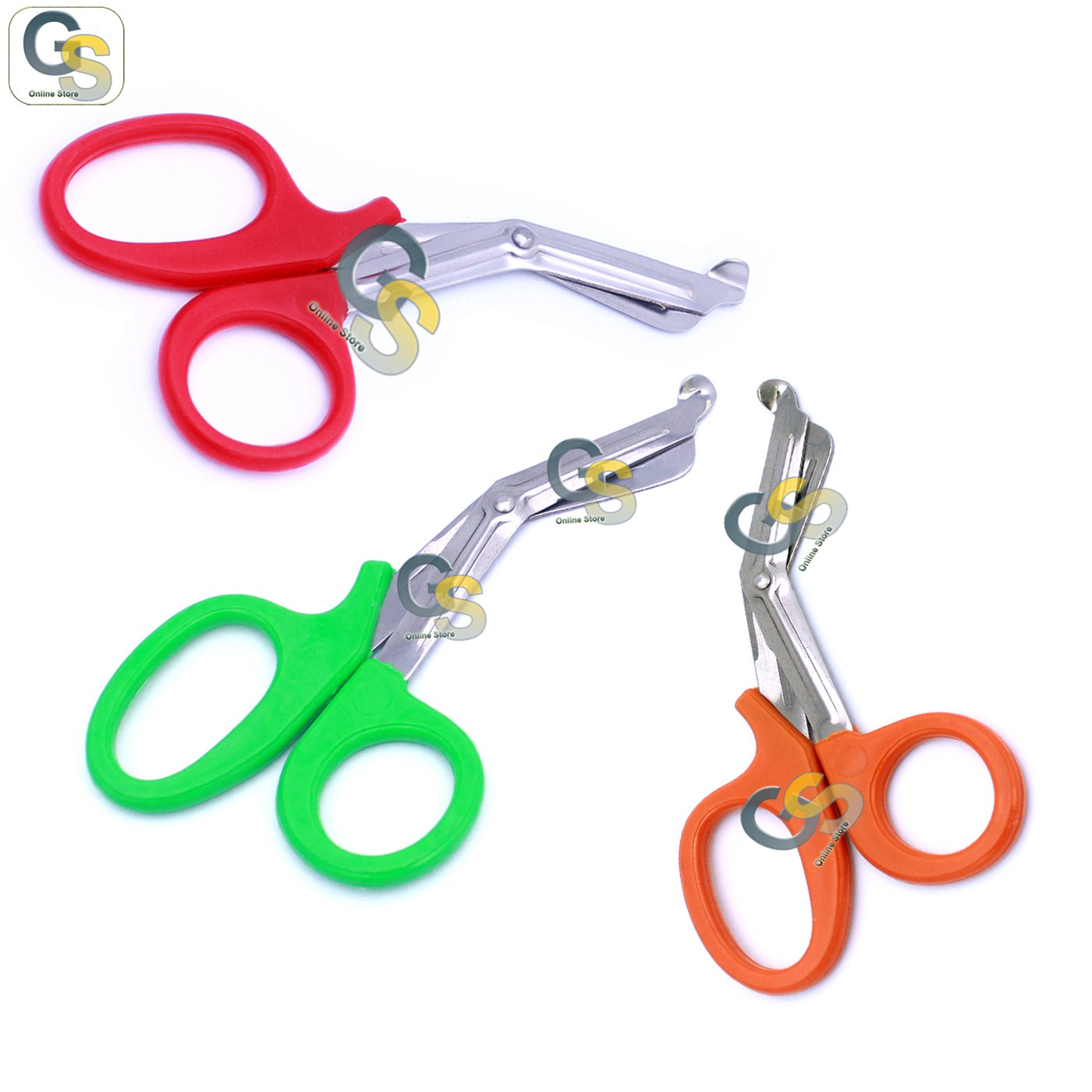 G.S 3 PCS (RED & GREEN & NEON ORANGE) PARAMEDIC UTILITY BANDAGE TRAUMA EMT EMS SHEARS SCISSORS 7.25 INCH STAINLESS STEEL