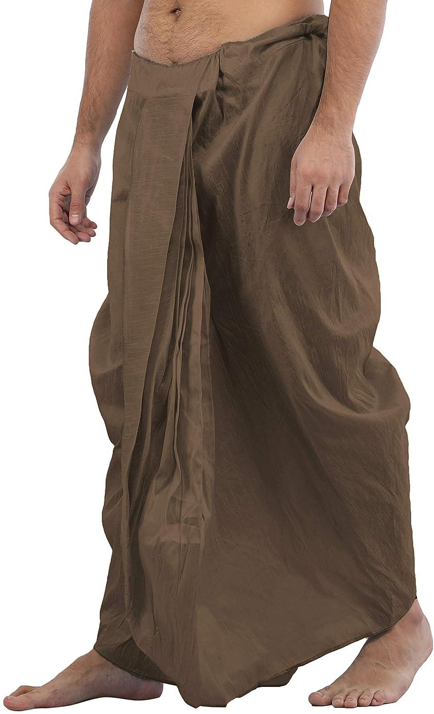 Maenner-Dhoti-Dupion-Silk-Plain-handgefertigt-fuer-Pooja-Casual-Hochzeit-Wear Indexbild 24