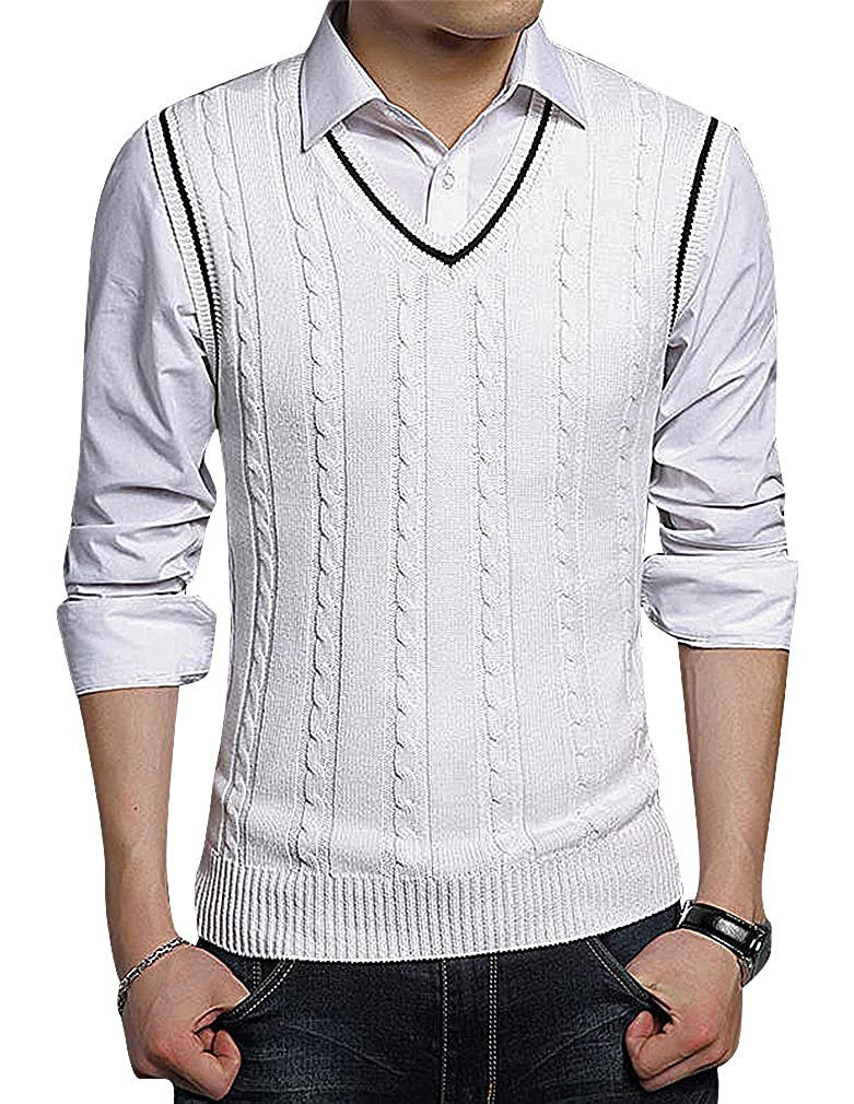 BAMan Men Cable Knit Ribbed Cuff Close Fit Contrast Edges V Neck Wool Vest