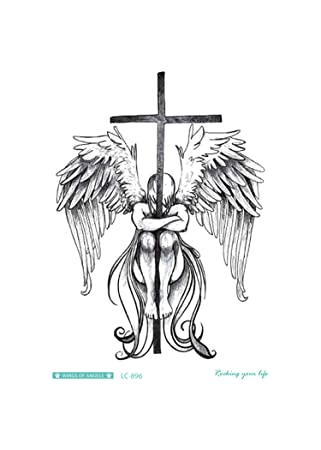 Amazon Com Kankanm Sketch Angel Fake Tattoo Cross Wings Large Taty Men Temporary Tattoo Sticker For Body Art Lc 896 Beauty