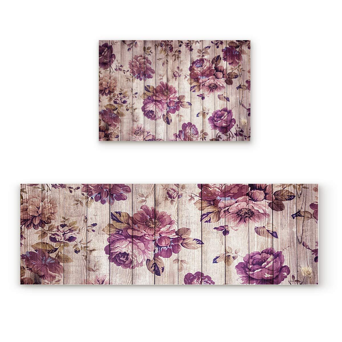 Flower69FIY8519 19.7x31.5In+19.7x47.2In Findamy Non-Slip Indoor Door Mat Entrance Rug Rectangle Absorbent Moisture Floor Carpet for Floral Theme Close-up pink Pattern Doormat 23.6x35.4In+23.6x70.9In