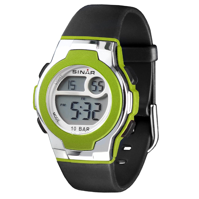 Sinar jugenduhr Negro/Plata/Neon Verde XF de 60–3