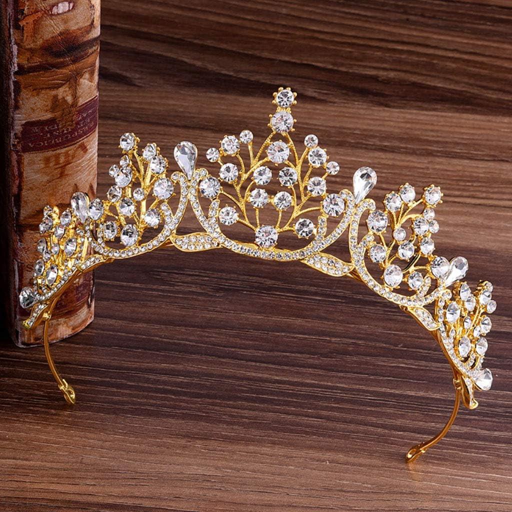 Qiuxiaoaa Cheveux Couronne Extensions-Couronne Couronne De Mariage Bandeau Vintage Bijoux Diad/ème De Princesse De Mari/ée Reine Rouge