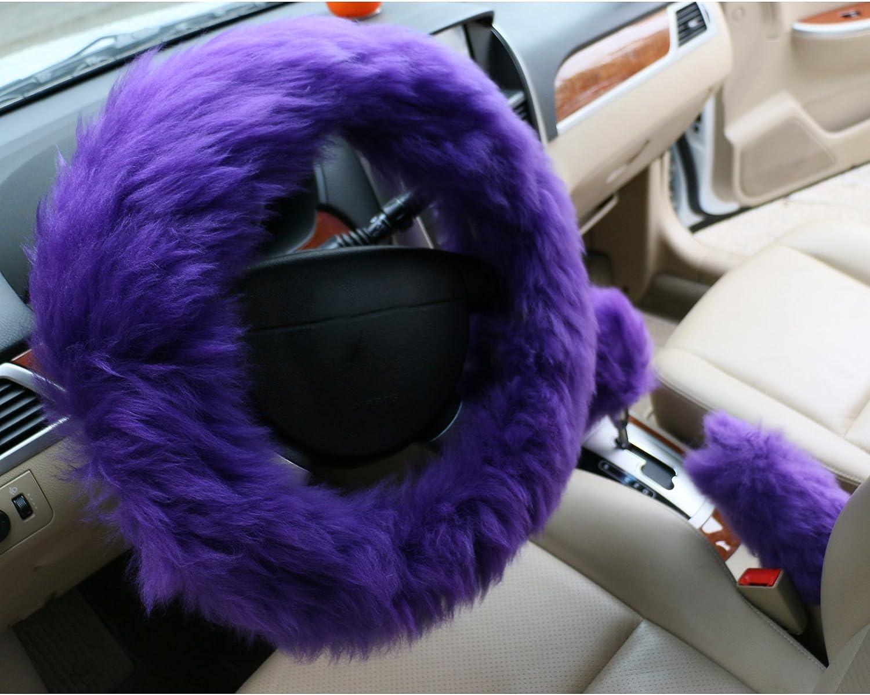 3/en/1 Popidi Housse de volant universelle de luxe en laine synth/étique avec housse pour frein de stationnement et housse pour pommeau de levier de vitesse