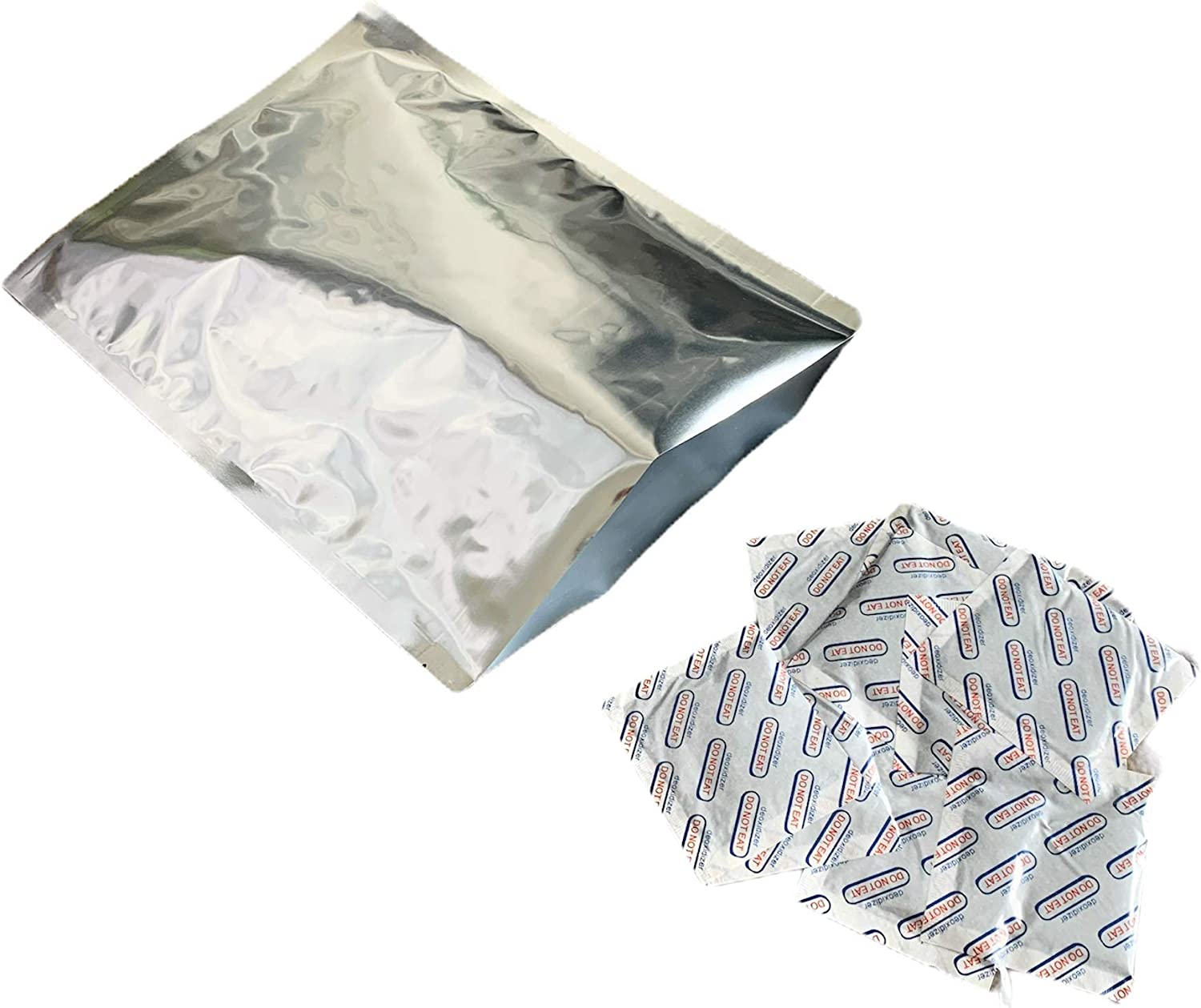 (50) Premium Quality 7.5 Mil Extra Thick 1-Gallon Mylar Bags with 500cc Oxygen Absorbers for Long Term Food Storage
