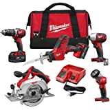 Milwaukee 2695-25P M18 18-Volt Lithium-Ion Cordless Combo Tool Kit (5-Tool) with Two 3.0Ah Batteries, One Charger, One Tool Bag