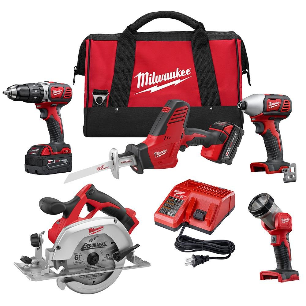 Milwaukee M18 18-Volt Lithium-Ion Cordless Combo Tool Kit 5-Tool with Two 3.0Ah Batteries, One Charger, One Tool Bag