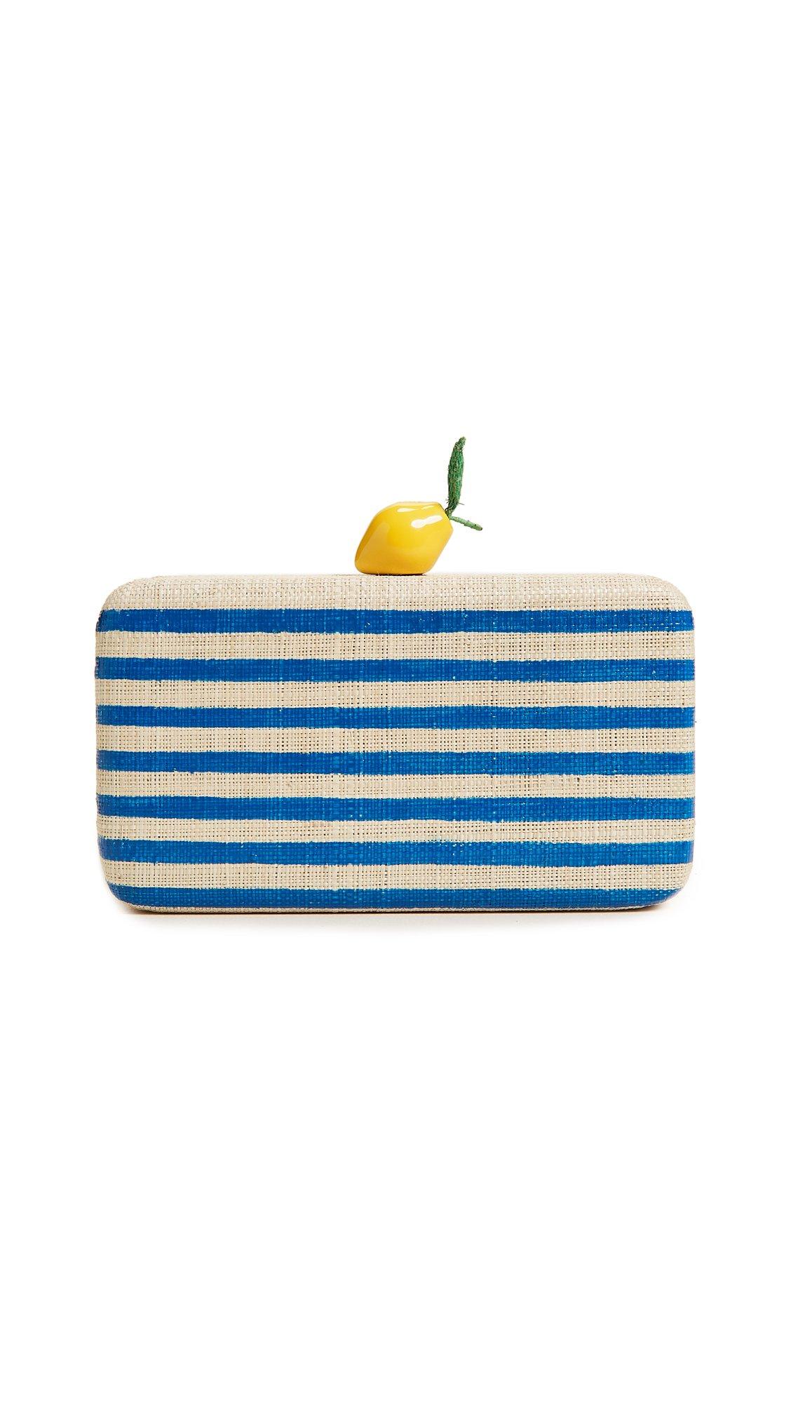 Kayu Women's Vera Lemon Clutch, Blue Stripe, One Size