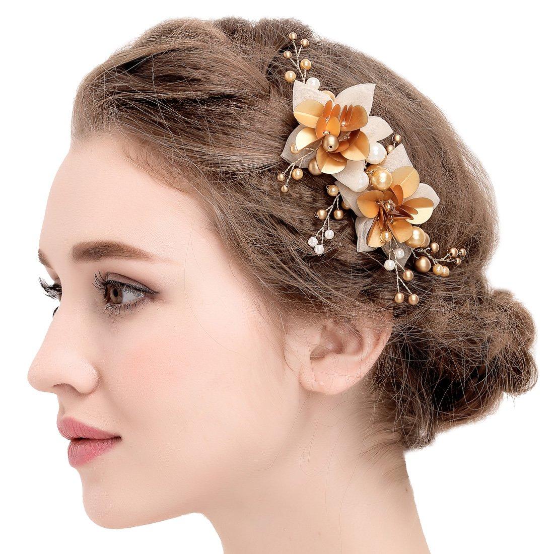 Vintage or Ivoire Hair Clips strass perles simulées Accessoires cheveux de mariage FAYBOX BRIDAL WTS60108