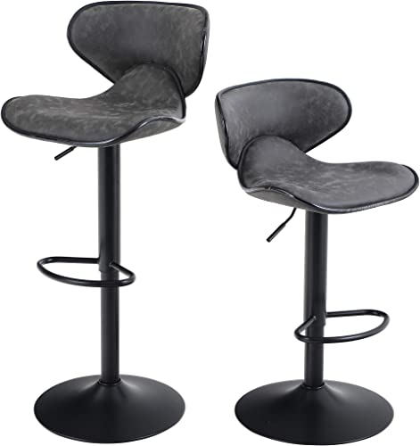 Bar Stool Set of 2 Adjustable Swivel Counter Height Chairs Water Resistant Retro Leather Fabric Bar Chairs for Bar Kitchen Indoor Outoor Grey