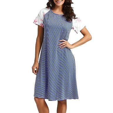 SANFASHION Bekleidung - Vestido - Trapecio o Corte en A - Manga Corta - para Mujer Azul Small: Amazon.es: Ropa y accesorios