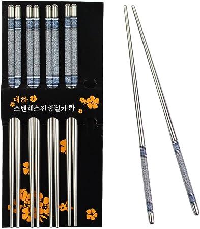 Lot de 5 paires de baguettes chinoises//japonaises en acier inoxydable Format long 22,5 cm