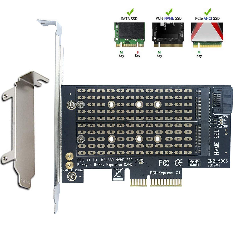 Adaptador Doble M.2 De Angel Mall, Compatible Con Nvme (tecla M) Y Sata (tecla B) 2 En 1 Pci-e 3.0 X 4 Adaptador De Tarj
