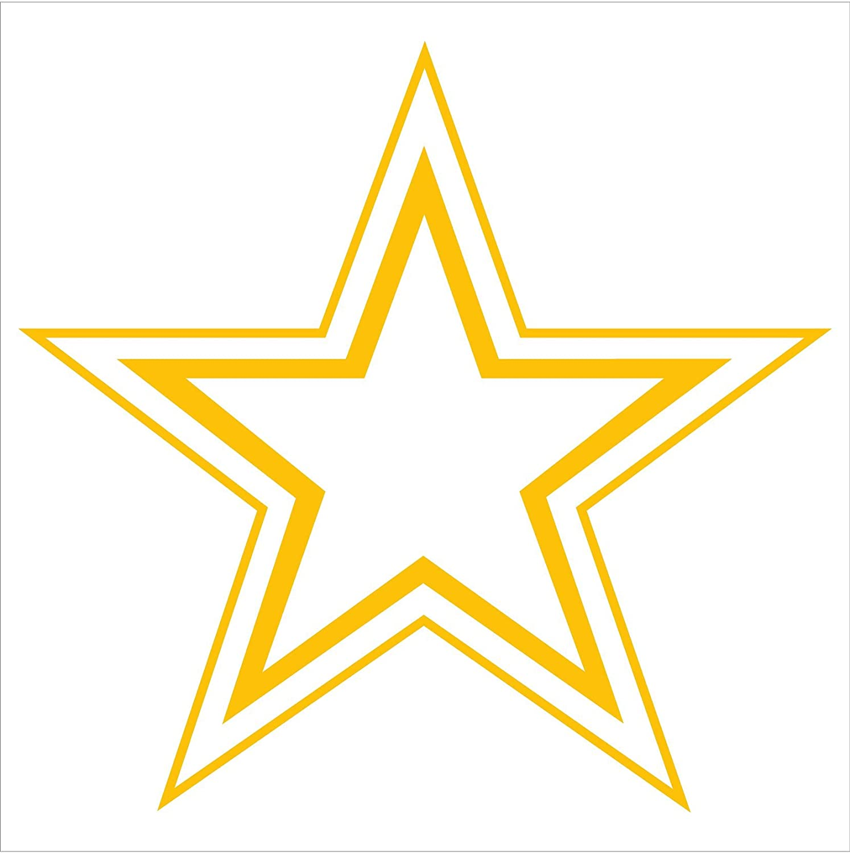 Amazon.com: STAR DOUBLE OUTLINE Vinyl Decal Window Sticker (5.5