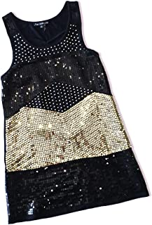 product image for Jubilee Couture Black Gold Metallic Sequin Sleeveless Pull Over Short Party Mini Dress