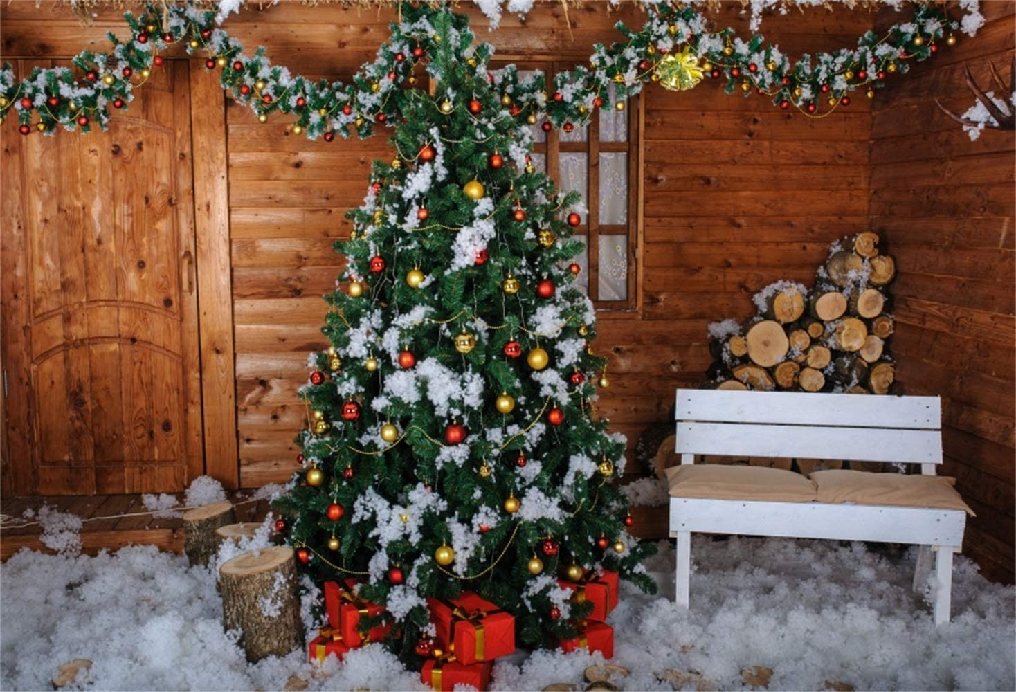 Christmassy Wooden House Frontage Bench Xmas Trees Gifts White Ski Boots Carpet Backdrop Polyester 8x6.5ft Christmas Theme Background Child Kids Adult Family Shoot Festival Celebration