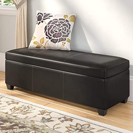Wondrous Amazon Com Faux Leather Storage Bench Accent Living Room Dailytribune Chair Design For Home Dailytribuneorg