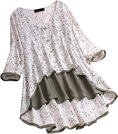 Womens Floral Summer Casual Shirt Blouse Long Sleeve T-Shirt Tops Tee Plus Size