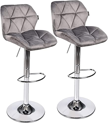 PULUOMIS Set of 2 Bar Stools Modern Hydraulic Adjustable Swivel Barstools,Flannel Padded with Back, Dinning Chair with Chrome Base Grey Flannel