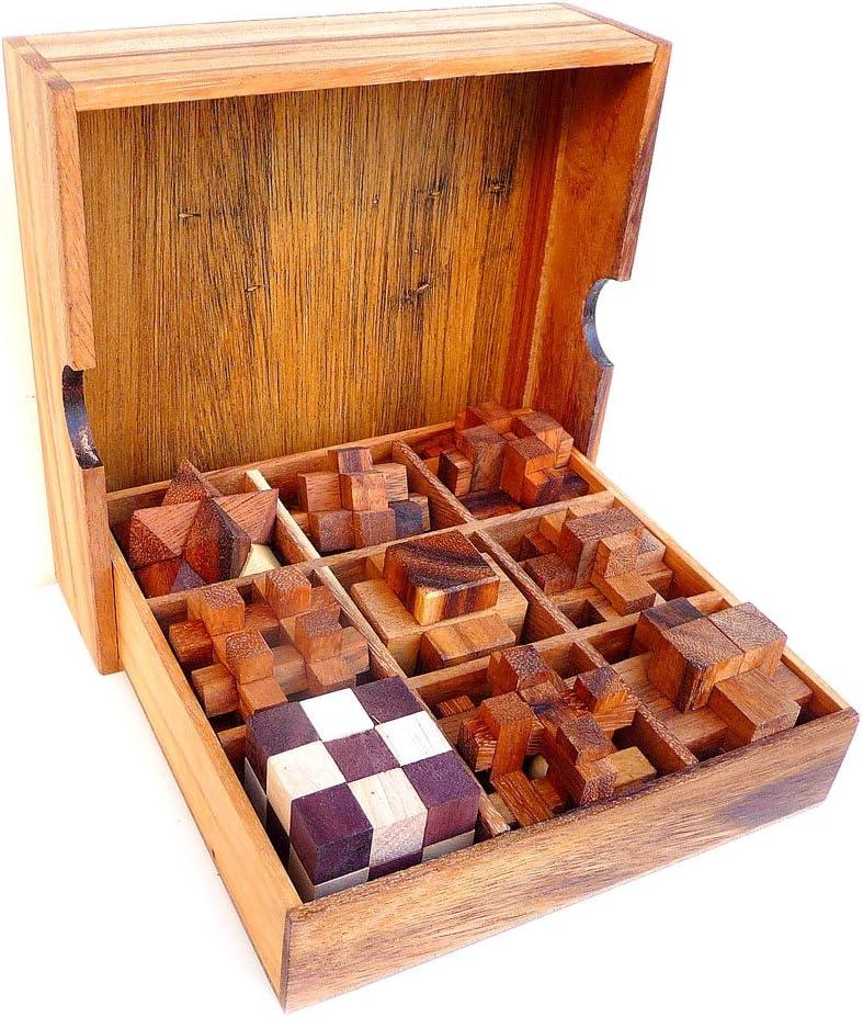 LOGICA GIOCHI Art. Set de Madera 9 en 1 - Rompecabezas – Set de Puzzles Inteligentes - Todos los Niveles de Dificultad: Amazon.es: Juguetes y juegos