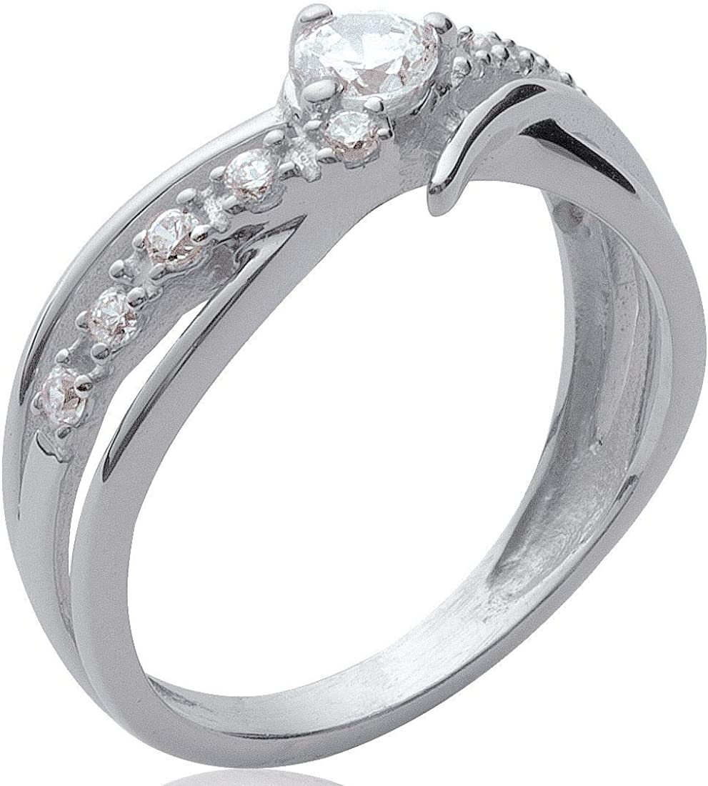 So Chic Jewels 925 Sterling Silver White Cubic Zirconia Solitaire Wire Overlap Engagement Band Ring