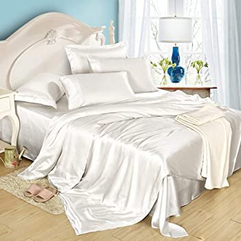 Good LilySilk 4Pcs Silk Bedding Sheets Flat Sheet Fitted Sheet Oxford  Pillowcases Set 19 Momme Pure Silk White Full
