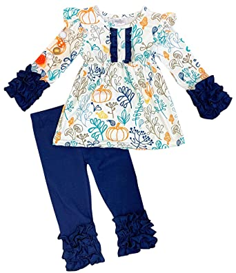41e8670aa00 Amazon.com  Little Girls 2 Pieces Capris Ruffle Set Thanksgiving Fall Tops Pants  Outfit  Clothing