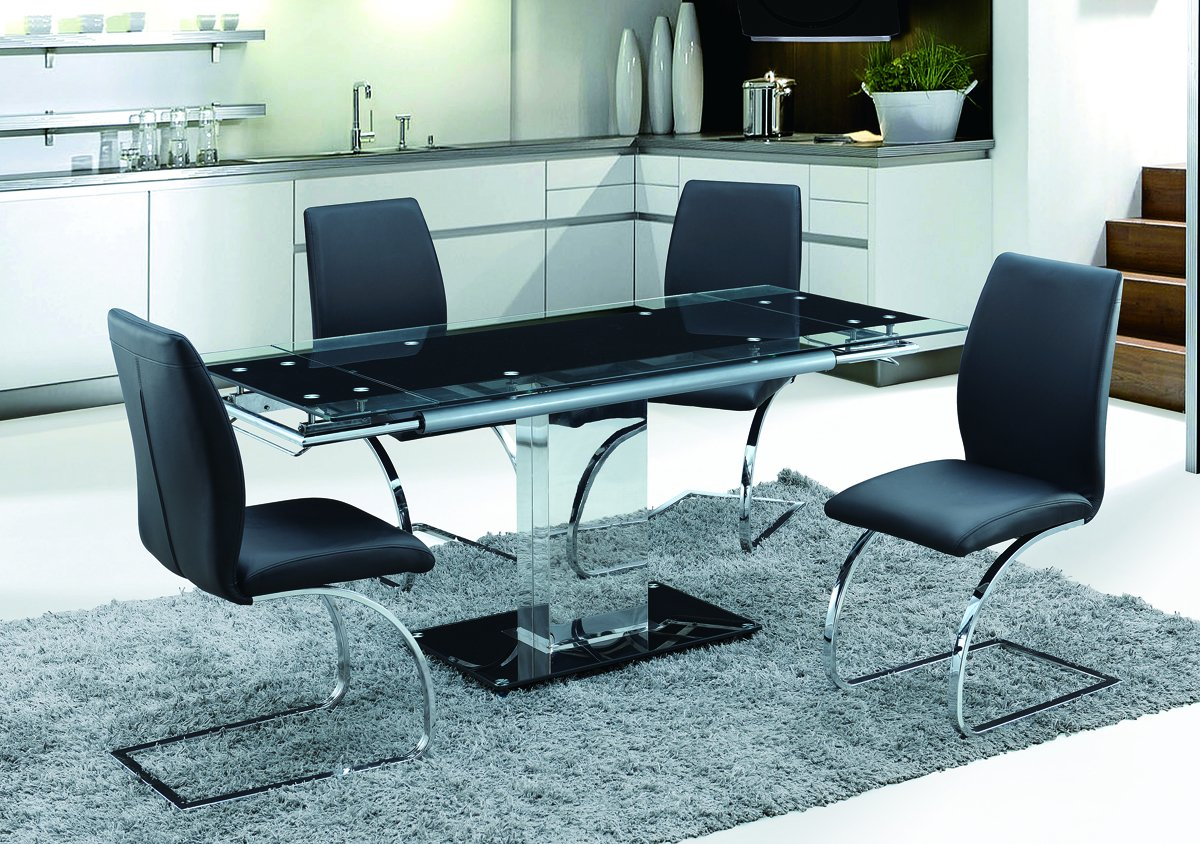 d9c1069dada0d Amazon.com - Milan ANNIE-5PC Annie Glass Extendable Dining Set with Black  Chairs - Chairs