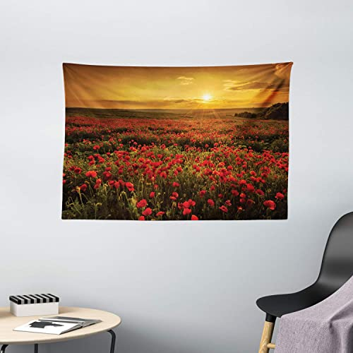 Ambesonne Flower Tapestry, Poppy Field at Sunset Sun Beams Meadow Cloudscape Wildflower Scene, Wide Wall Hanging for Bedroom Living Room Dorm, 60 X 40 , Red Orange