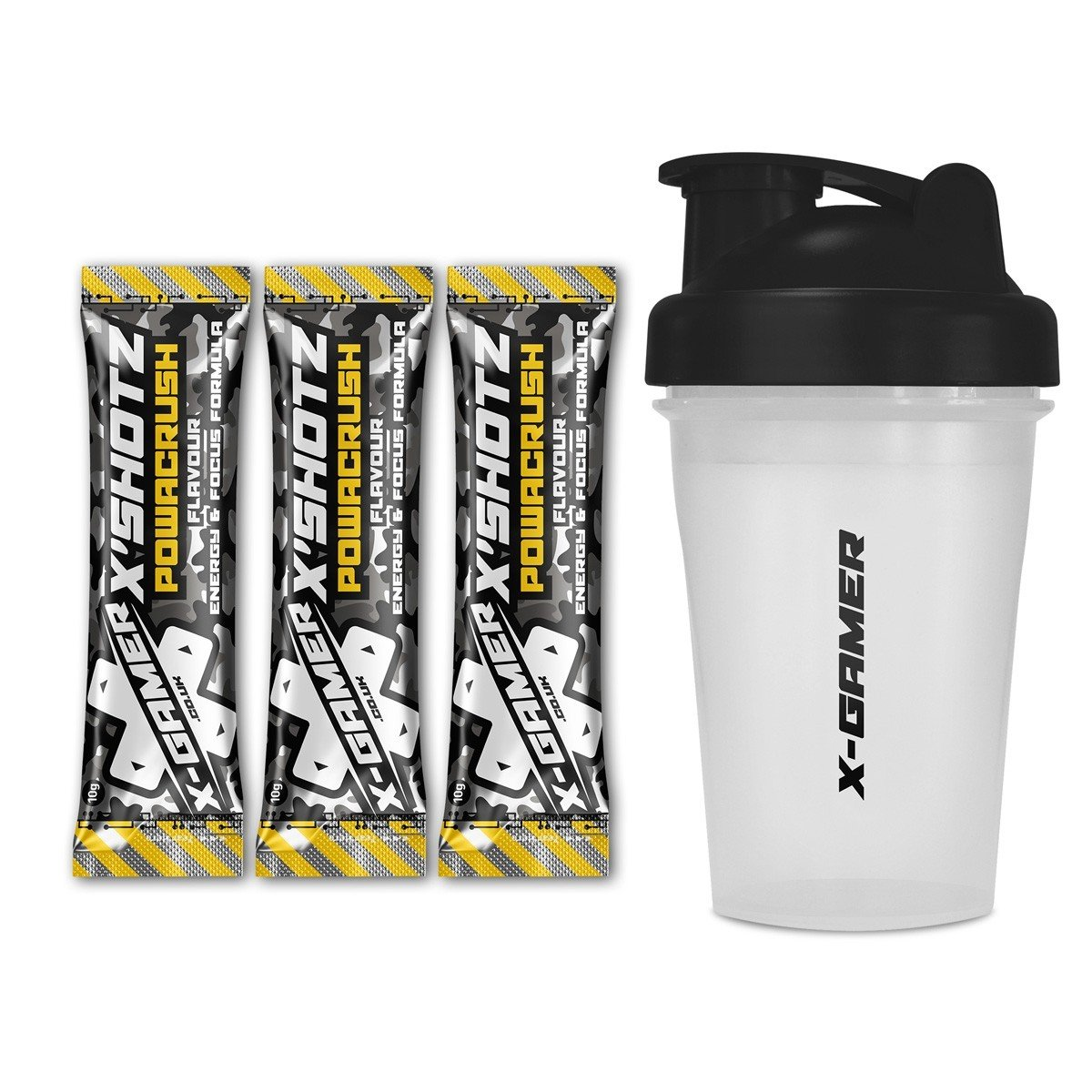 X-Gamer   X-Shotz Powacrush (3 Pack) with X-Shakez Shaker   Powacrush Flavored Focus and Energy-Drink Beverage for Gamers and E-Sports Enthusiasts   27 Multi-Vitamin Complex   Zero Added Sugar