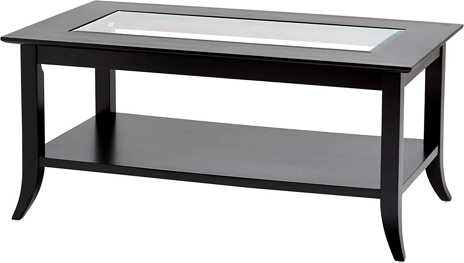 Phoenix Home Parla Rectangular Wood Coffee Table With Glass Top