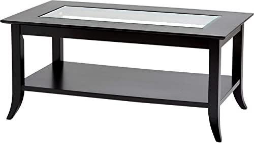 Phoenix Home Parla Rectangular Wood Coffee Table with Glass Top and Bottom Shelf, Coffee Black