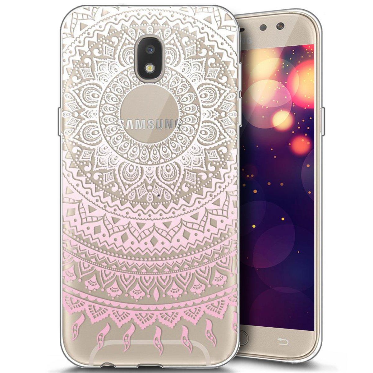 Galaxy J3 2017 Hü lle, JAWSEU Schwarz Mandala Blumen Muster Ultra Dü nn Transparent Handyhü lle Silikon Rü ckseite Schutzhü lle Durchsichtige TPU Bumper Backcover Tasche Etui Fü r Samsung Galaxy J3 2017