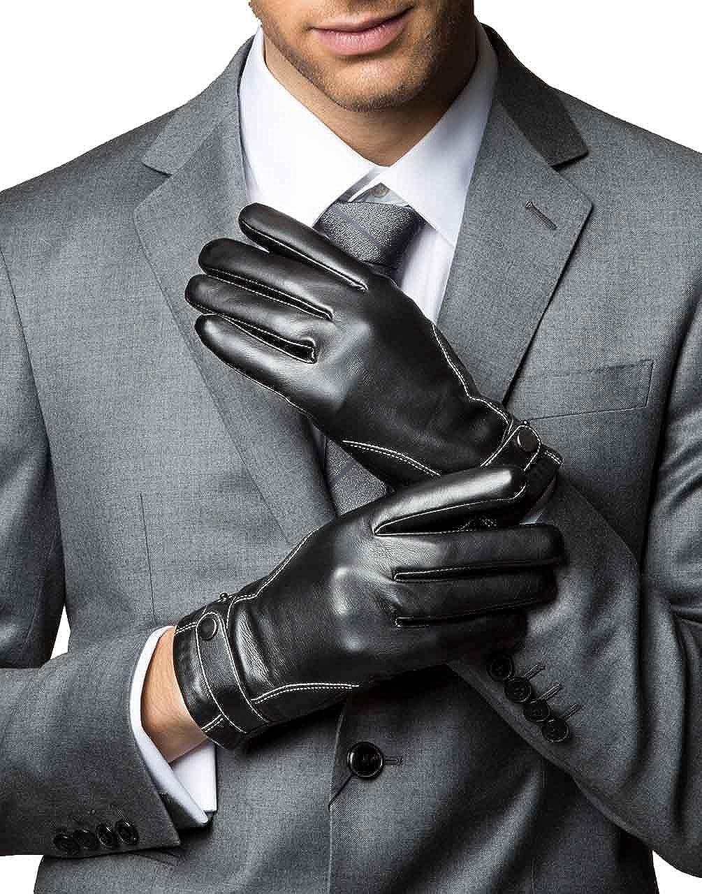 YISEVEN Men's Touchscreen Lambskin Winter Leather Gloves Slim