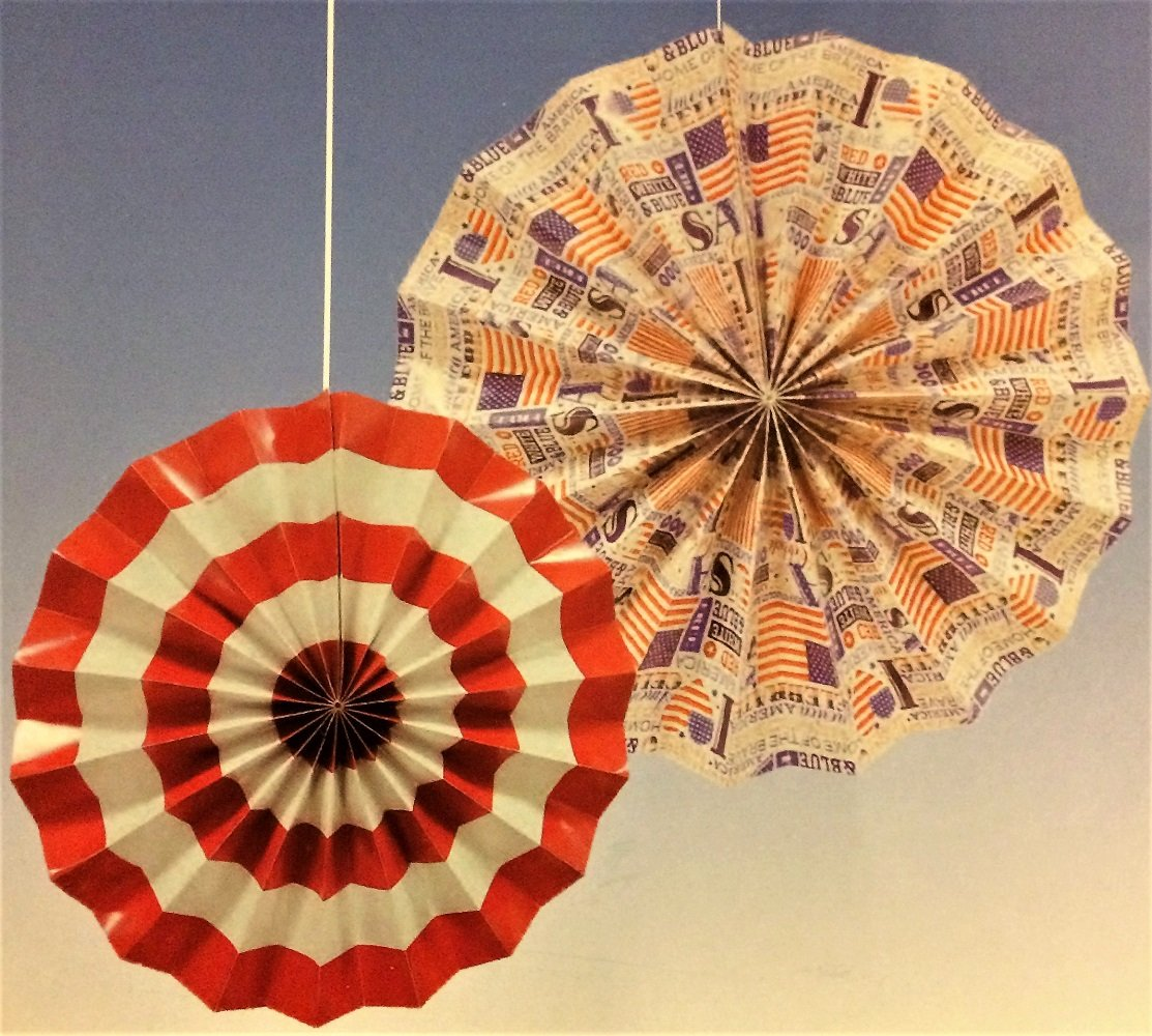 Patriotic Hanging Paper Fan Decorations, 14'' and 10'', 6-pc Set by Greenbrier (Image #3)