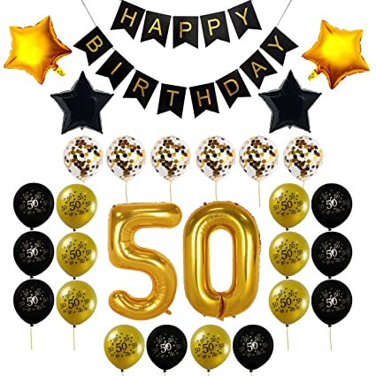 50th Birthday Party Decorations Kit Happy Banner Gold Number BalloonsGold