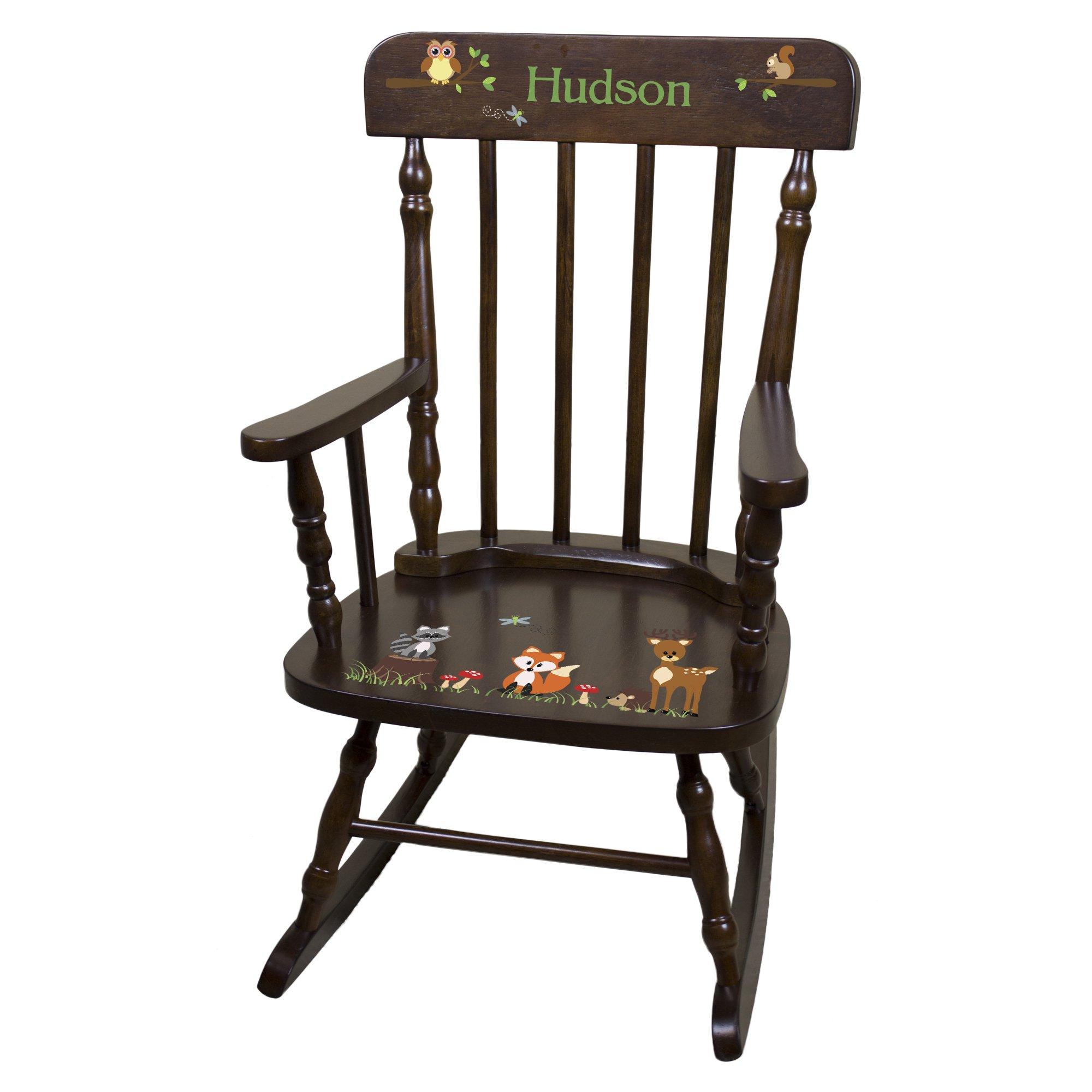 Personalized Espresso Forest Animals Rocking Chair