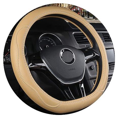 HCMAX D Type Vehicle Steering Wheel Cover Car Steering Wheel Protector for Men Women D-shape Diameter 38cm PU Leather Black 15