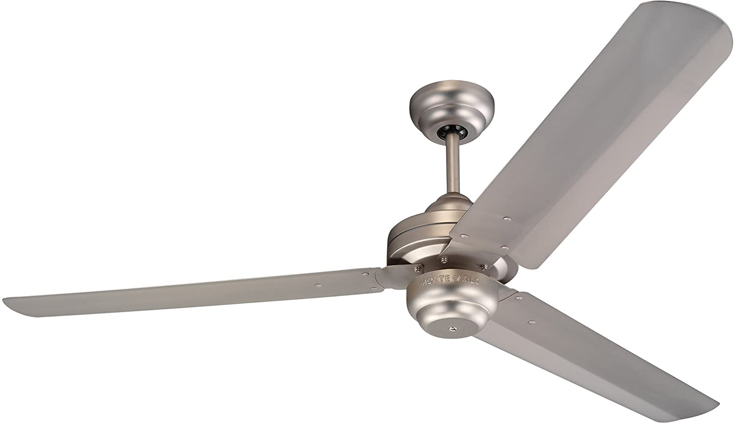 Brushed Pewter Monte Carlo 3SU54BK, Studio 54  Matte Black 3 Metal Blade Ceiling Fan